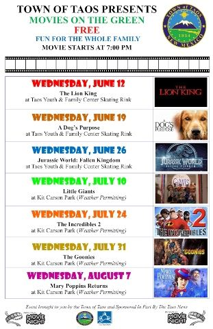 Movies on the Green flyer 2019 website