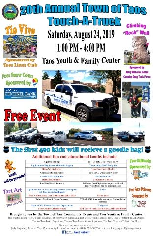 20th Annual Town of Taos Touch-A-Truck flyer 2019 website