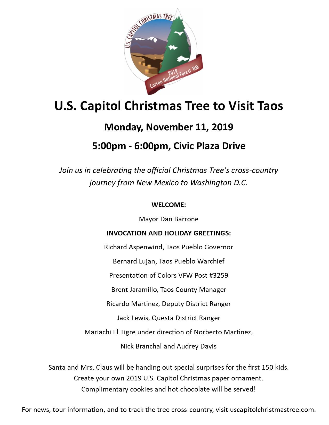 U.S. Capitol Christmas Tree to Visit Taos flyer (002)