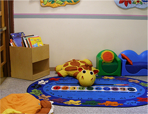 Childrens area with books and toys