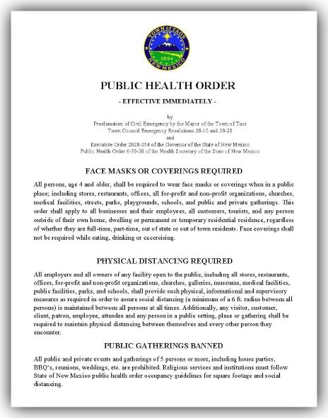 Public Health Order Effective Immediately 07-02-20
