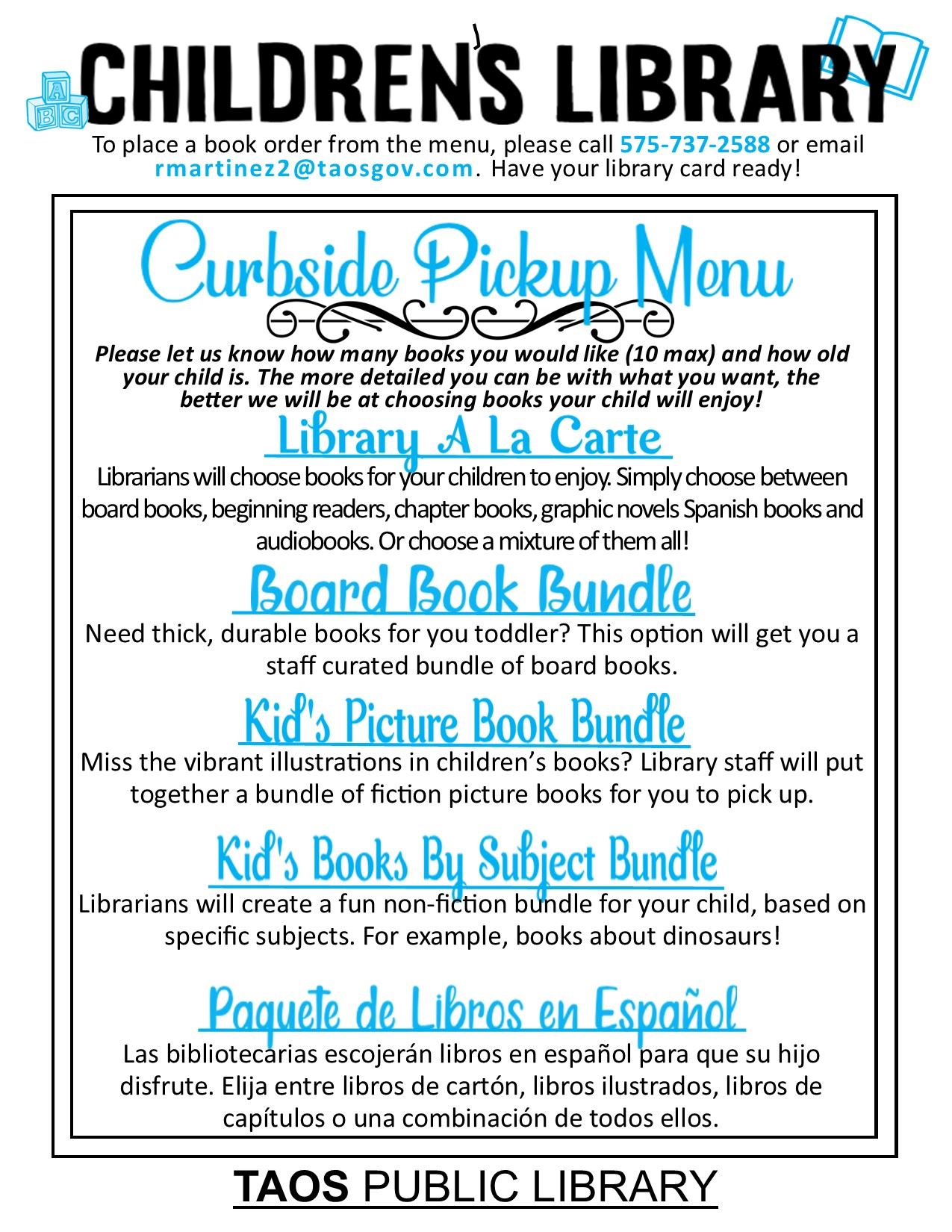 childrens book menu update